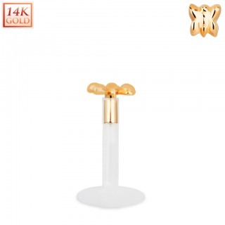 Bioflex labret with 14kt. rose gold top and classic butterfly