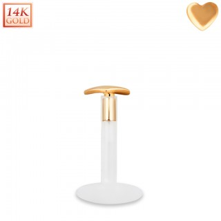 Bioflex labret with 14kt. rose gold heart shaped top