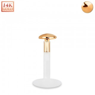 Bioflex labret with 14kt. rose gold round shaped top
