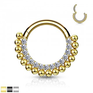 Hinged Segment Ring with Paved gems and balls