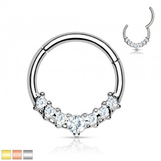 Piercing ring with attached segment and 7 clear crystals