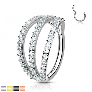 Piercing ring with attached segment and 3 crystal layers