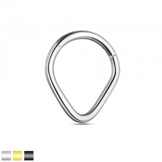Coloured V-shaped piercing ring with easy hinge closure