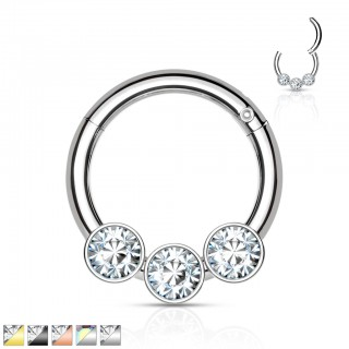 Piercing ring with attached segment and 3 side crystals
