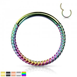 Piercing ring with attached segment and thin braided bar