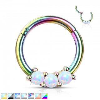 Piercing ring with attached segment and 3 prong set opal stones