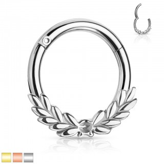 Coloured piercing ring with laurel leaves and attached segment