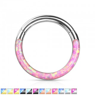 Piercing ring with attached segment and front opal stone