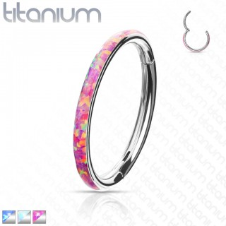 Titanium piercing ring with attached segment and opal outer side