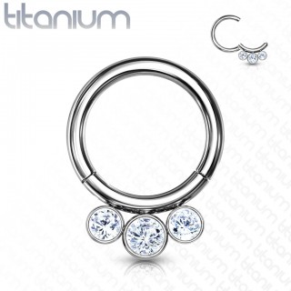 Titanium piercing ring with attached segment and 3 side crystals