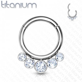 Titanium piercing ring with attached segment and 5 crystal beads