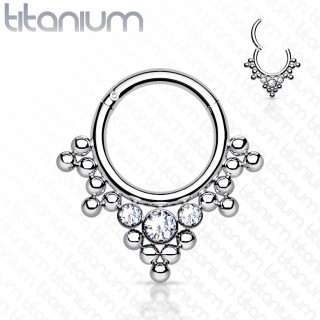 Titanium piercing ring with attached segment and crystals and beads