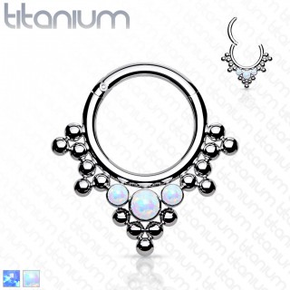 Titanium piercing ring with attached segment and opals and beads