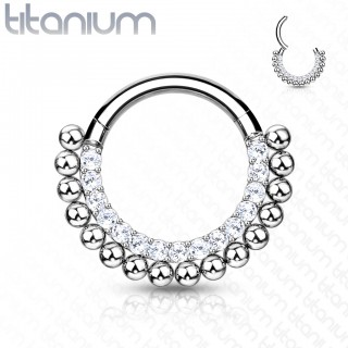 Titanium ring with attached segment and line of crystals and beads