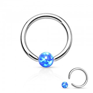 Ball closure ring met gekleurd Opaal balletje