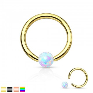 Plated ball closure ring with white opal ball