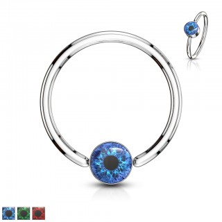 Ball closure ring with coloured open eye inlay ball