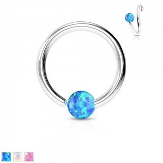 Piercing ring with fixed coloured opal ball