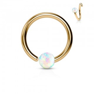 Rose golden piercing ring with fixed white opal ball