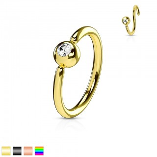 Coloured piercing ring with fixed ball and diamond