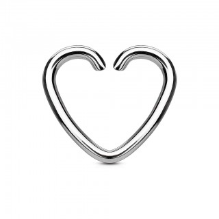 Silver stainless steel heart-shaped ring