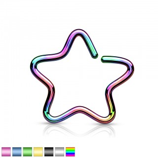 Coloured clip-on piercing with star