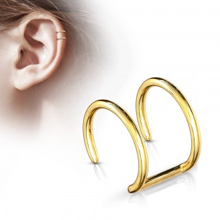Gold double fake piercing ring