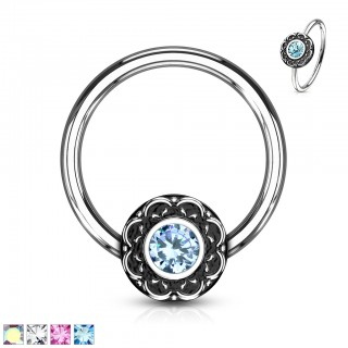 Ball closure ring with filigree and coloured crystal