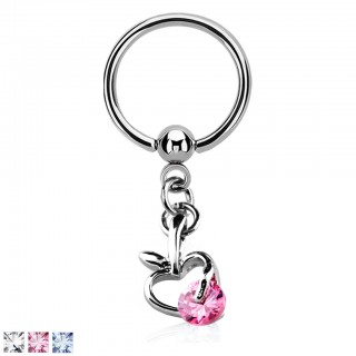 Ball closure ring with apple dangle and coloured crystal