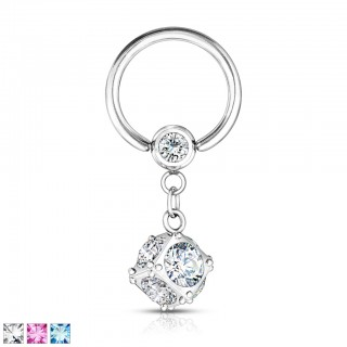 Ball closure ring with multi crystal dangle