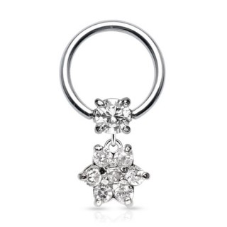 Ball closure ring with flower dangle