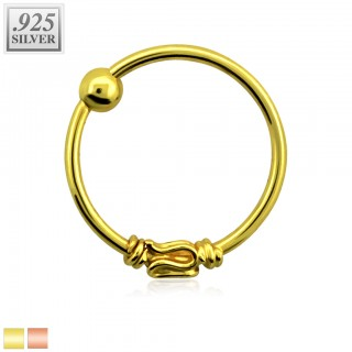 Nose ring with snake and fixed ball