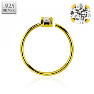 Gold ball closure ring with clear prong crystal