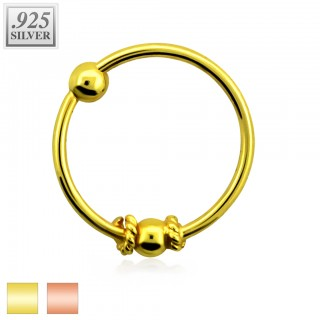 Nose ring with candy wrap and fixed ball