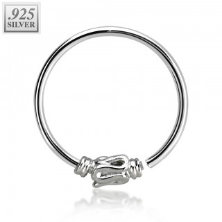 Sterling silver nose ring with fixed snake ball