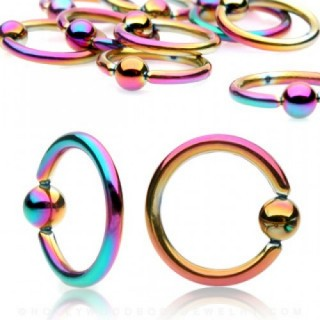 Titanium plated regenboog ball closure ring