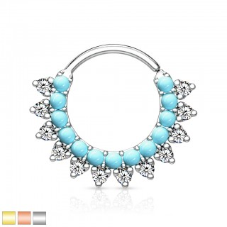 Coloured piercing ring with clear crystals and turquoise stones