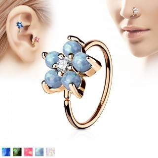 Rose golden hooped piercing with flower and opal gems