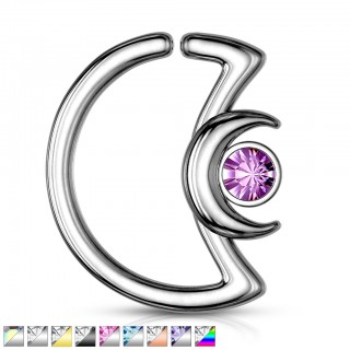 Crescent moon shaped hooped piercing with small gemmed moon