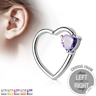 Piercing ring with heart shape and heart crystal