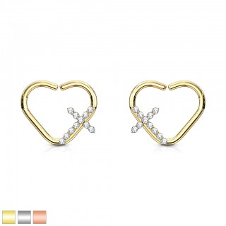 Heart shaped piercing ring with crystal paved cross