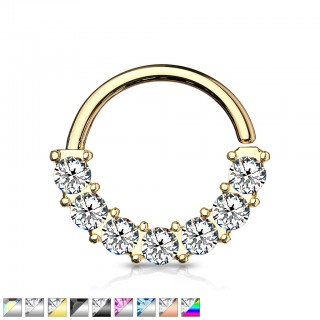 Multifunctional seven jeweled front facing steel bendable piercing ring