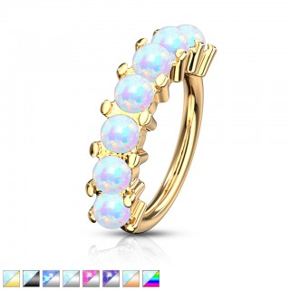 Coloured bendable multi-purpose 7 opal lined piercing ring