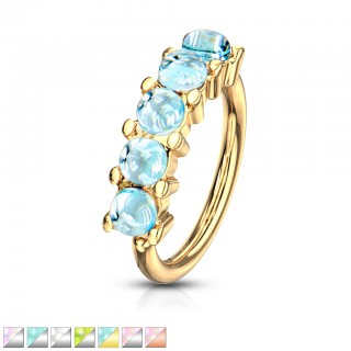 Coloured bendable multi-purpose 5 bright gem lined piercing ring