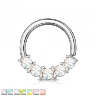 Coloured bendable multi-purpose front facing gem lined piercing ring