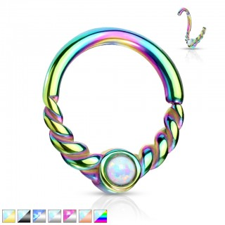Multifunctional half braided piercing ring with opal stone