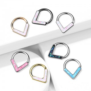 Seamless Ring met front-facing glitter Chevron Opaal