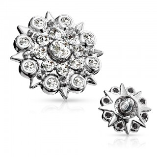 Floral filigree dermal top with shiny clear crystals - Silver