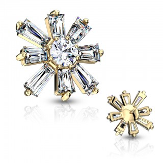 Coloured dermal top with princess cut crystal flower – Gold