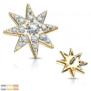 Coloured internally threaded dermal top with crystal starfish